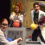 Robyn Helwig, Kendra Gliem and Kyle Summers in The Rose Theater's production of POINT A TO POINT B